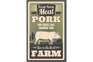 Meat farm with pig grown on farm