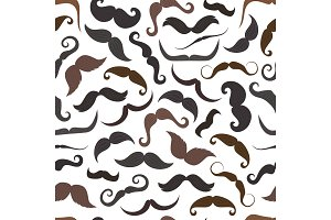 Cartoon mustaches seamless pattern
