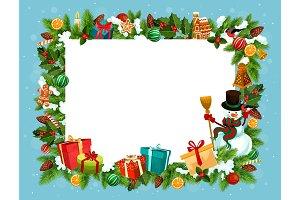 Festive frame of spruce, Christmas