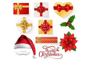 Christmas Santa hat, gift box, holly