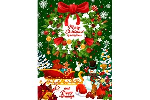 Christmas design, wreath and gifts