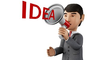 3d Businessman with a megaphone and