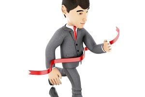 3d Businessman crossing the finishin