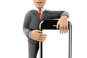 3d Businessman standing with a smart