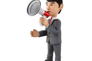 3d Businessman with a megaphone. Bus