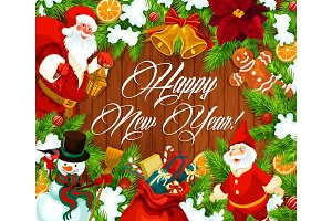 Happy New Year banner with wreath