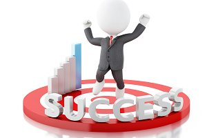 3d white people business success in