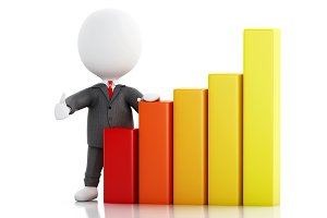 3d Businessman with statistic graph.