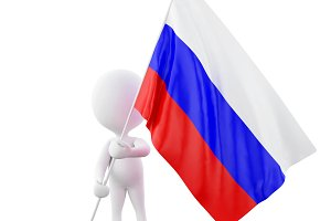 3d White people with Russia flag.