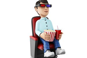 3d Man in the cinema and eating popc