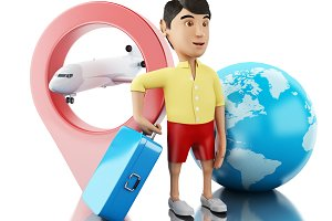 3d Man with a suitcase, map pointer