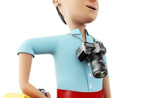 3d Man with a suitcase and a camera.