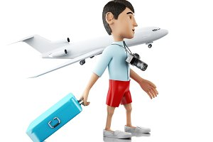 3d Man with a suitcase and camera go