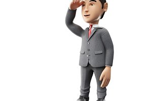 3d Businessman standing and looking