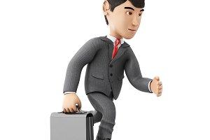 3d Businessman running with a briefc