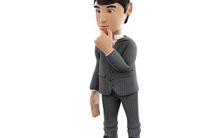 3d Businessman thinking. Business an