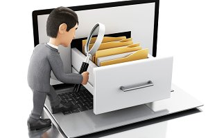 3d Businessman searching folders in