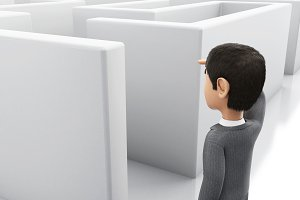 3d Businessman standing in the entra