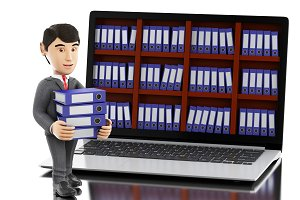 3d Businessman with laptop and pile