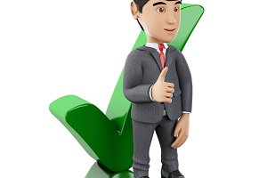 3d Businessman showing thumb up with
