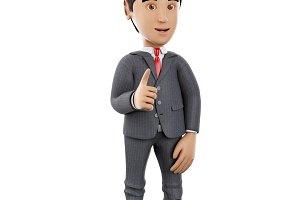 3d Businessman showing thumbs up. Bu