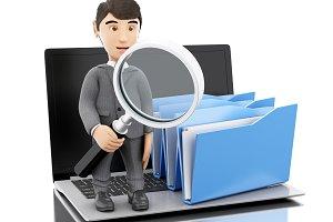 3d Businessman examines folders.