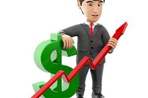 3d Businessman with a dollar sign an