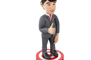 3d Businessman showing thumb up stan