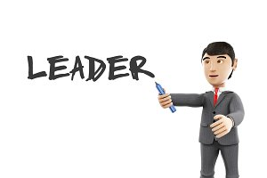 3d Businessman with a marker and wor
