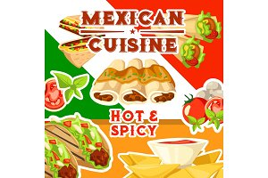 Mexican cuisine with spicy food