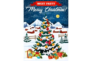 Night party poster with Xmas tree