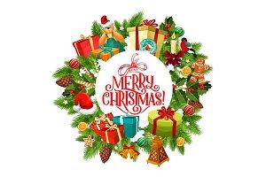 Merry Christmas wreath, fir, gifts