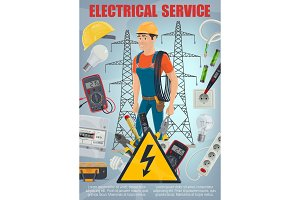 Electrician and tools, vector