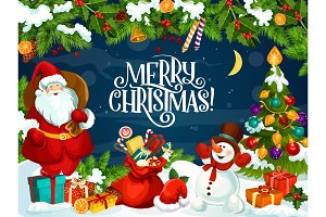 Merry Christmas poster with Santa