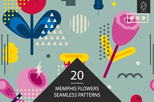 Memphis flowers seamless patterns