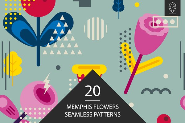 Patterns - Memphis flowers seamless patterns