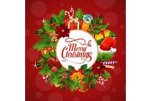 Christmas gifts on wreath