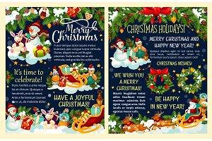 Christmas gift and Santa sleigh