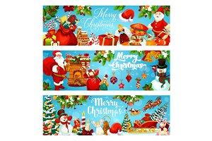 Christmas tree, gifts and Santa