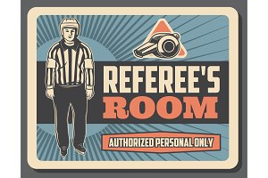 Referee room signboard