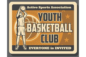 Sport basketball club vintage poster