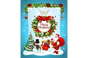 Santa, snowman and wreath
