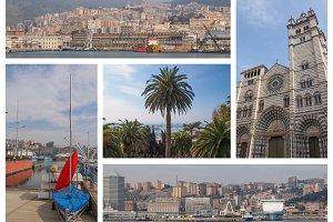 Genoa landmarks set