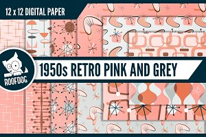 Pink 1950s vintage wallpaper designs
