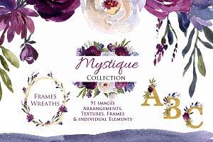 Plum, Burgundy & Indigo Clip Art