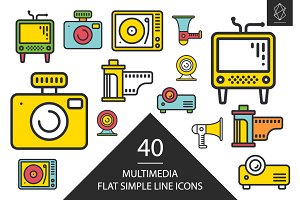 Multimedia simple line icons set