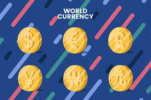 World currency money symbol vector