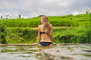 Young woman tourist in Belulang Hot