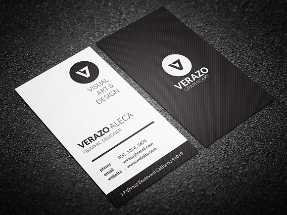 Clean Vertical Business Card Templates Creative Market