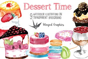 Dessert time watercolor illustration